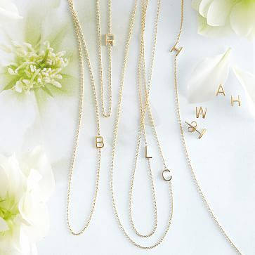"""Maya Brenner Asymmetrical Initial Necklace, Solid 14k Gold #makeyourmark - would love something like this with an """"N"""" for Nora"""
