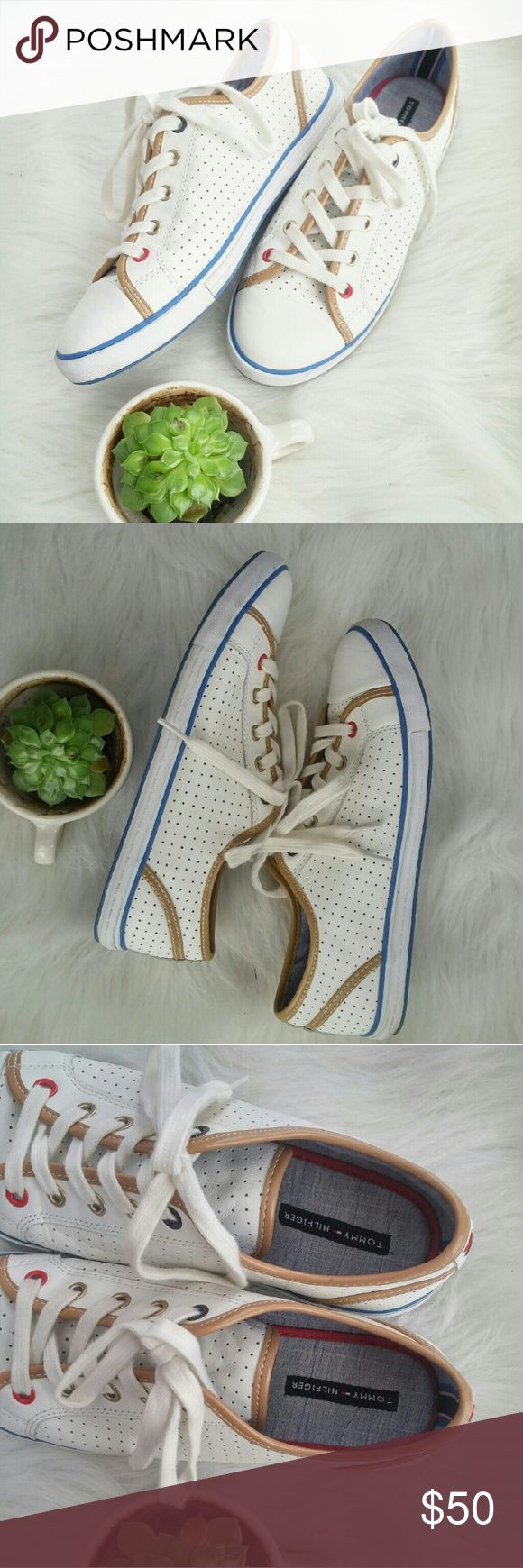 Leather Perforated Tommy Hilfiger Sneakers 8.5M Almost New! Hardly worn and worn very gently.  No scuffs etc! Perfect sneaker for upcoming spring weather.    Bundle for best deals! Hundreds of items available for discounted bundles! Bundle offers welcome.   Follow on IG: @the.junk.drawer Tommy Hilfiger Shoes Sneakers