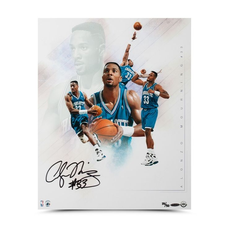 "ALONZO MOURNING Autographed ""BUZZ"" Collage 16 X 20 Photo UDA LE 50 - Game Day Legends"