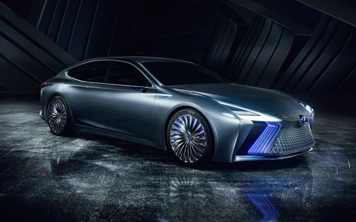 Download wallpapers Lexus LS  Concept, 2018, front view, futuristic design, luxury sedan, new cars, Japanese cars, Lexus