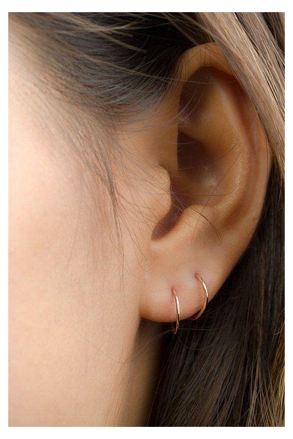 Sterling Silver Pierced Inside Out V Shape Garnet Hoop Earrings