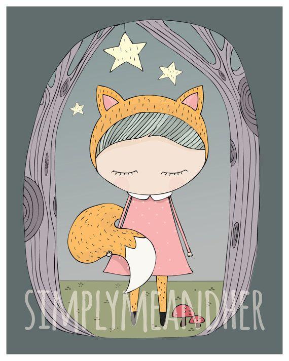 Fox Girl. Kids wall art. Art print. Nursery by simplymeandher