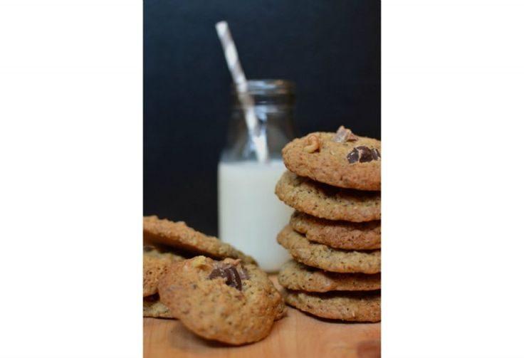Double chocolate chunk cookies with spent beer grain