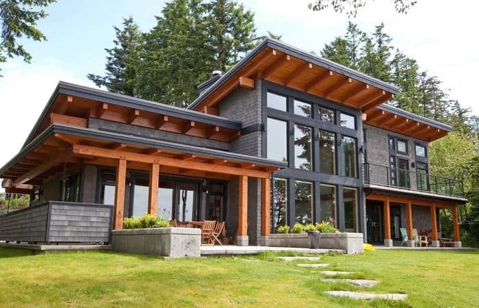 A Signature West Coast Contemporary Design This Modern Hybrid Timber Frame Home Is As Beautiful To Look Basement House Plans Architecture House House Exterior