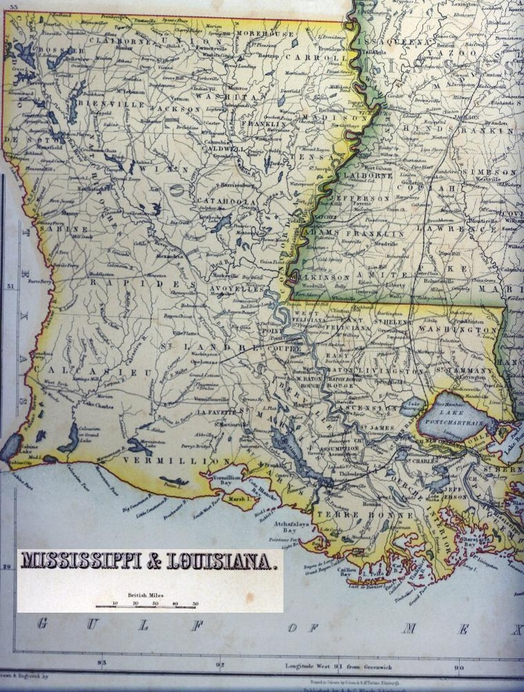 1845 Louisiana u0026 Mississippi 52 best Maps