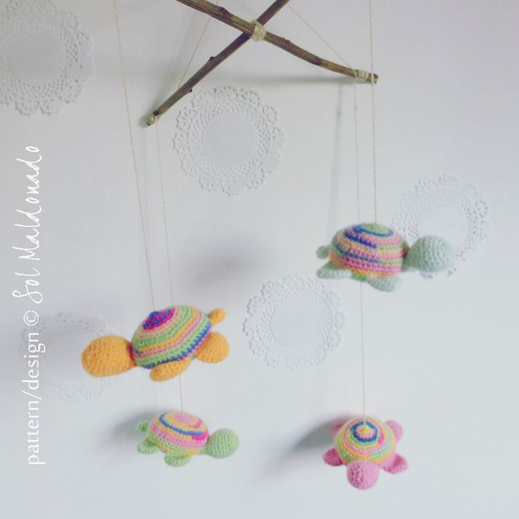 baby mobile Crochet Pattern amigurumi turtle toy PDF by bySol, $4.00