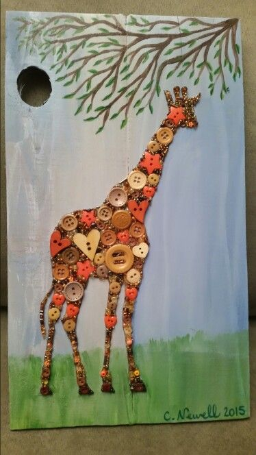 Giraffe in Buttons on Recycled Wood with Acrylic Paint Background