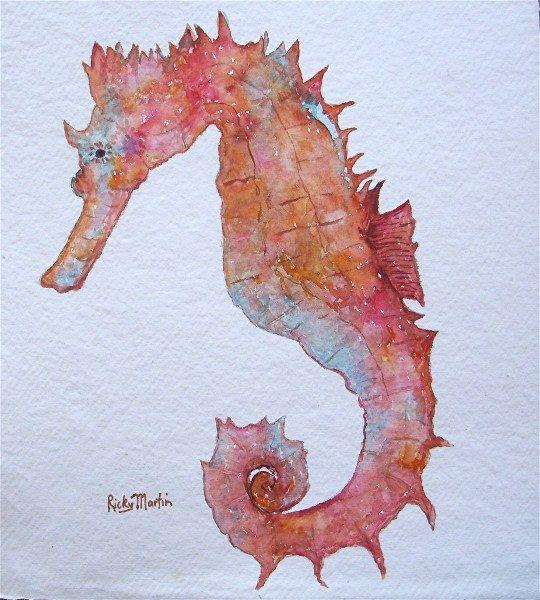 watercolor seahorse | Seahorse, Ocean, Marine Life, Nursery, Child's room decoration ...