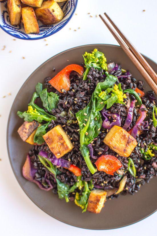 Forbidden Rice Stir Fry & Teriyaki Tofu   healthynibblesandbits.com #vegan #glutenfree