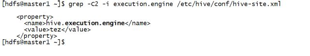 Step by step guide for execution engines usage in Apache Hive.   In this article We will learn how to use different execution engines in Apache Hive. 1) Create a table called employee to run next queries. You can check how to create a table in Hive here. 2) Check available execution engine in hive-site.xml. grep -C2 -i execution.engine /etc/hive/conf/hive-site.xml Execution engine defined in hive-site.xml is the default execution engine.The image below shows tez is the execution engine…