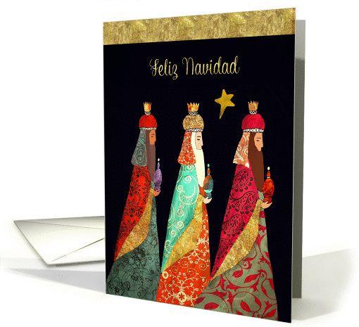 Merry Christmas in Spanish, Feliz Navidad, Three Magi, card
