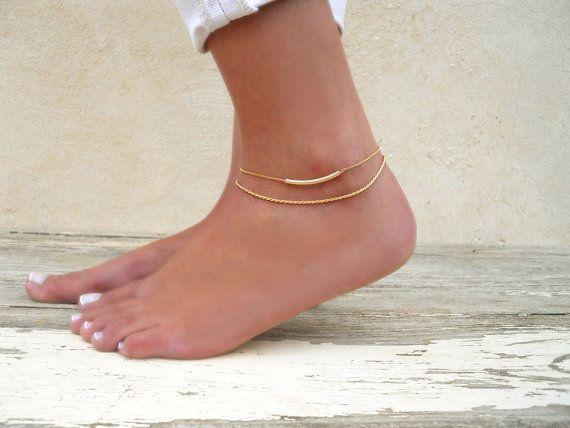 Tube Anklet Gold Filled Tube Anklet Dainty Gold by annikabella