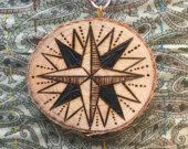 SALE! Wood-burned Ornament: Moravian Star Slice
