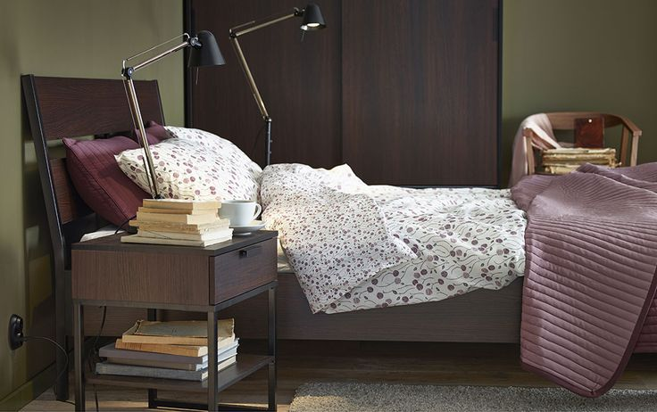 my room inspiration. green, purple,  bedside tables and a wardrobe, all in dark brown/black accent with white