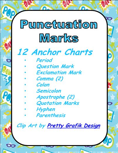 This is a set of 12 anchor charts or posters for punctuation marks. Each chart/poster gives a definition and at least one definition. The punctuation marks included are: Period Question Mark Exclamation Mark Comma (2) Colon Semicolon Apostrophe (2) Quotation Marks Hyphen Parenthesis These are perfect for classroom display or to copy for student notebooks. Use these posters for review or introduction.