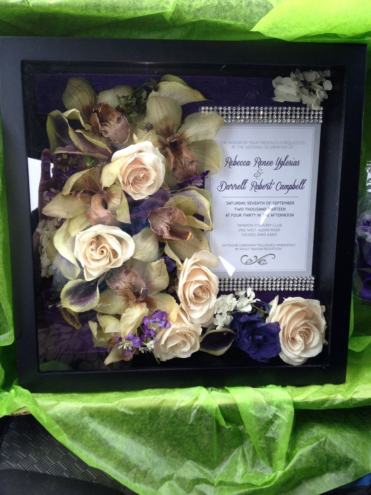 Freeze Dried Wedding Bouquet In A Shadowbox With Our Invite Pretty Much Obsessed