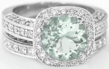 Antique Green Amethyst Diamond Engagement Ring and Matching Wedding Band