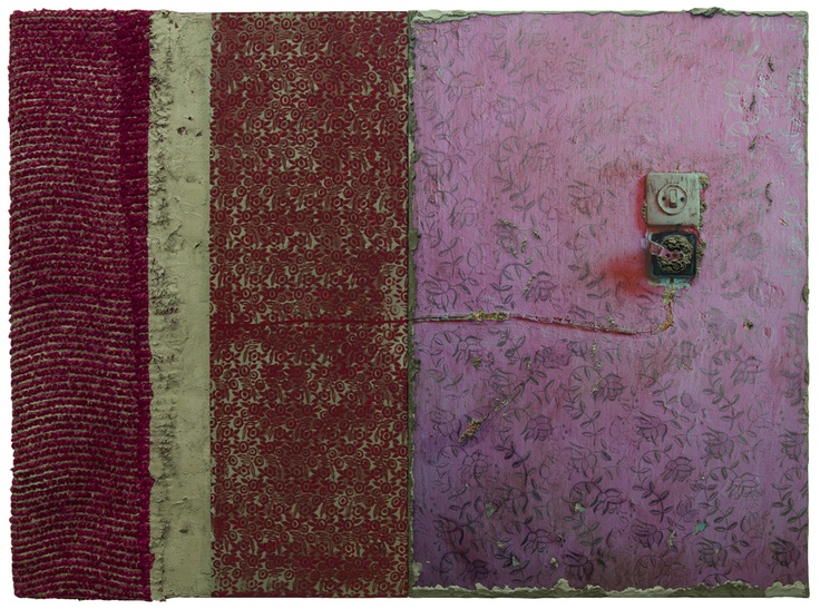 Naomi Safran-Hon, Wadi Salib - Interior Wall III (pink light switch), 2012, 123x 165 cm, ink jet print, kant en cement op canvas