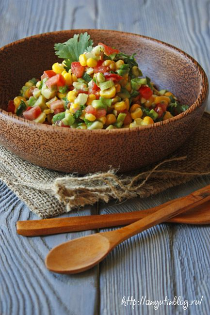 Салат с кукурузой и авокадо. #salad, #salsa, #corn, #food, #recipes