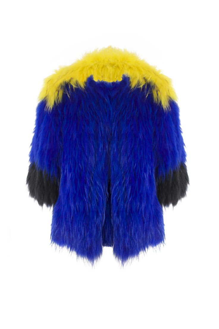 Agatha coat - Yellow     Raccon fur shop online in www.beniroom.com