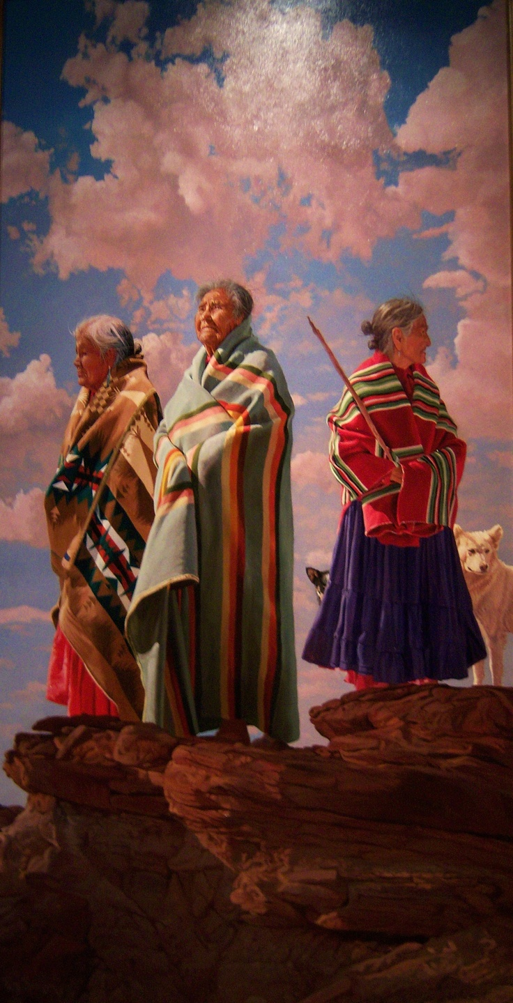 Bright colors of the Dineh. Love this painting hung in the Basha Museum, Chandler, Arizona