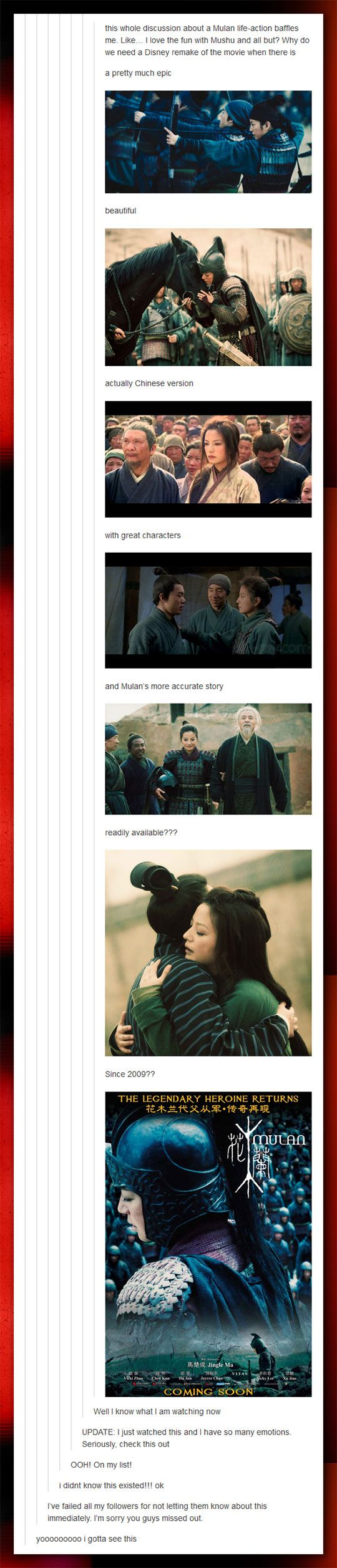 I want to watch this, Mulan has always been my favourite Disney film :)