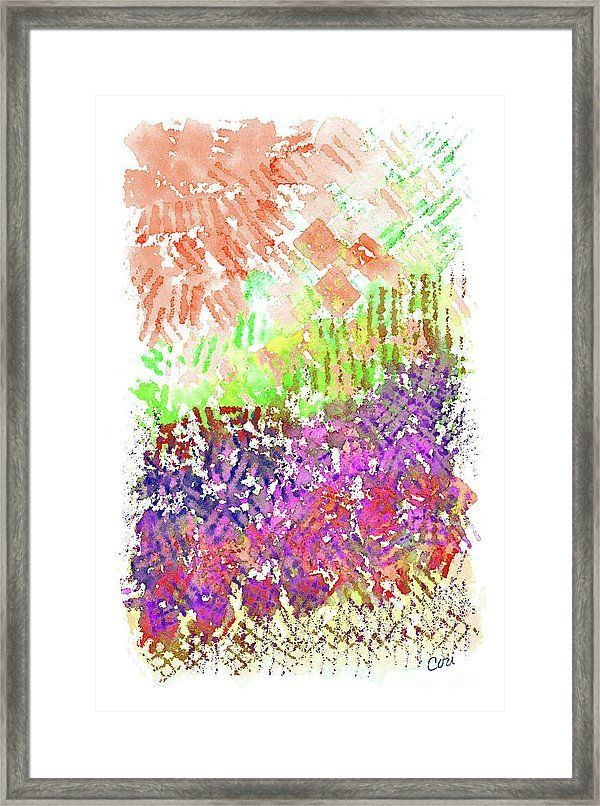 Garden Of Orange And Pink Framed Print by Corinne …