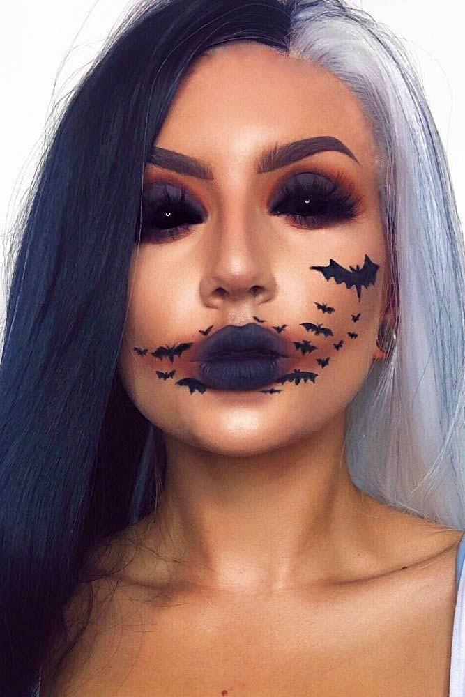 Fledermäuse Halloween Makeup Idee #bats #blackeyes