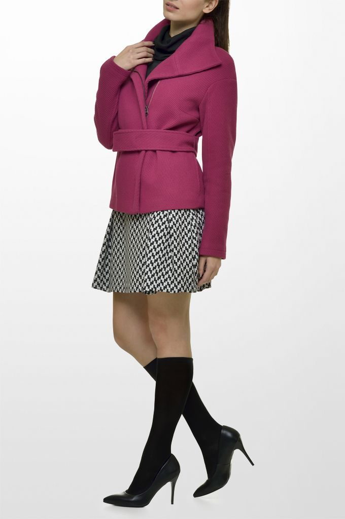 Sarah Lawrence - belted jacket with oversized collar, double layered long sleeve sweater, short printed skirt.