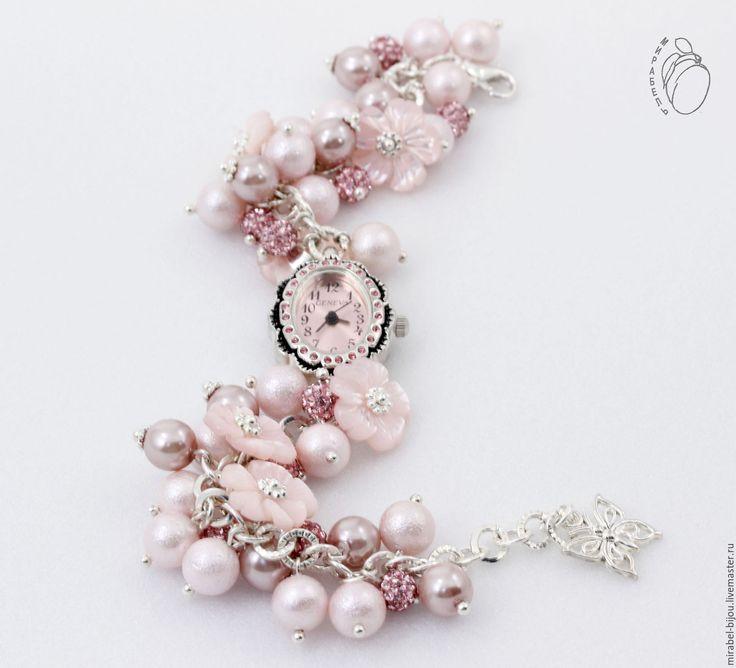Купить Часы Молли - бледно-розовый, часы, часы наручные, часы с цветами, часы с бусинами
