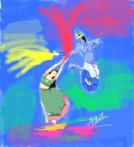#radha nd krishna playing holi..