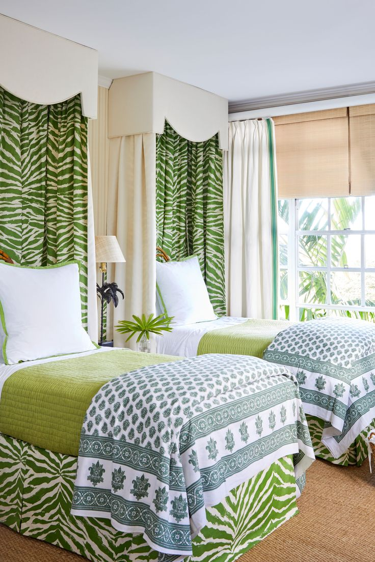 Leafy patterned valances in the twin guest room (top) mimic the feel of sleeping under a canopy of Bahamian foliage. The bedding and pillows are by Pine Cone Hill.