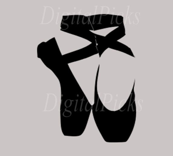 "1.423"" X 2.123"" Black Ballet Ballerina Slippers Shoes #2 Digital Clip Art PNG JPEG JPG"