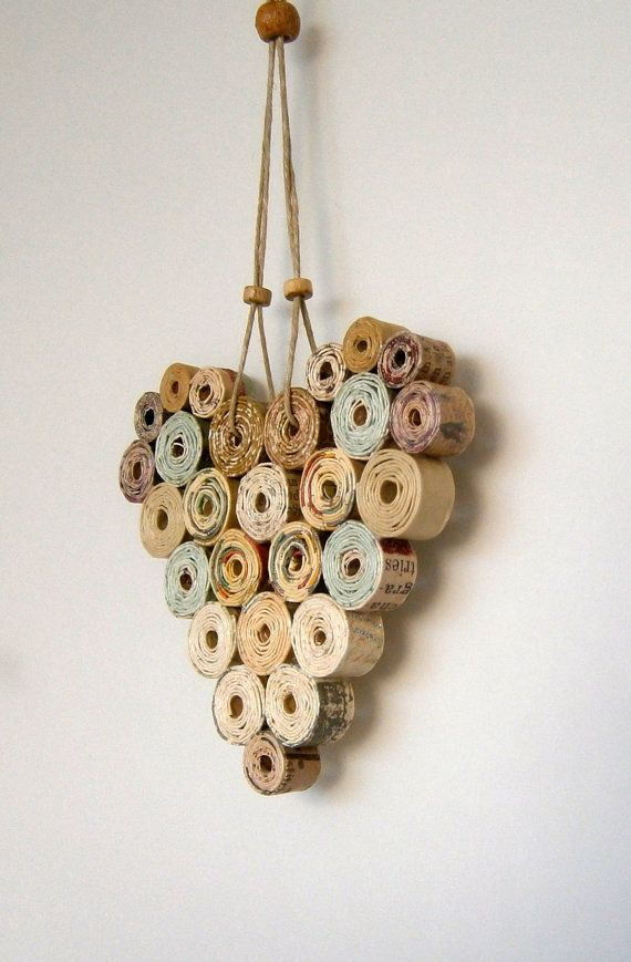Recycled Paper Heart 4x4 Neutral/Natural Shades by BlueTangDesigns