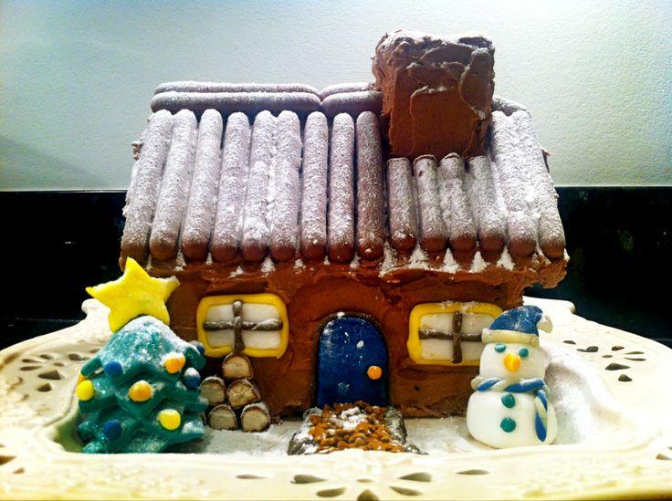 Christmas cake - log cabin