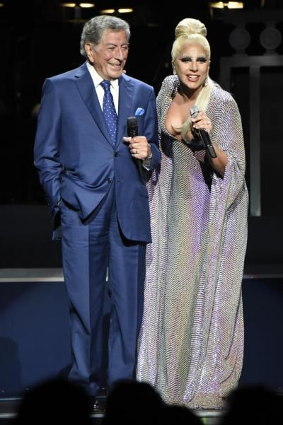 """Tony Bennett and Lady Gaga perform onstage during """"Cheek to Cheek"""" tour at Radio City Music Hall on Friday."""