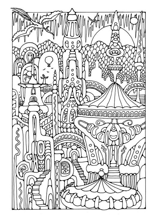 Fairy Tale City Colouring Page Free Edupics Colouring City Coloring Pages For Adults