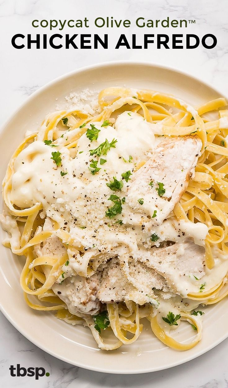 Get your pasta bowls ready, because this copycat recipe tastes just like your favorite restaurant Chicken Alfredo. A big pot of al dente fettuccine (enough to serve the whole family!) dressed in a cream Alfredo sauce and topped with grated Parmesan, it's going to be hard not to eat this every night.