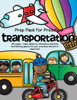 BIG and comprehensive set of activities with a Transportation/Things That Go/Wheels theme - make hands-on, interactive centers and learning games for your preschool and pre-K classroom.  ***Completely redesigned Jan 2016*** 101 pages