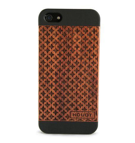 iPhone 5/5S Black Houdt Rose Wood Patterned Case