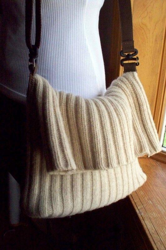Recycelte Wolle Pullover Messenger Tasche Handtasche