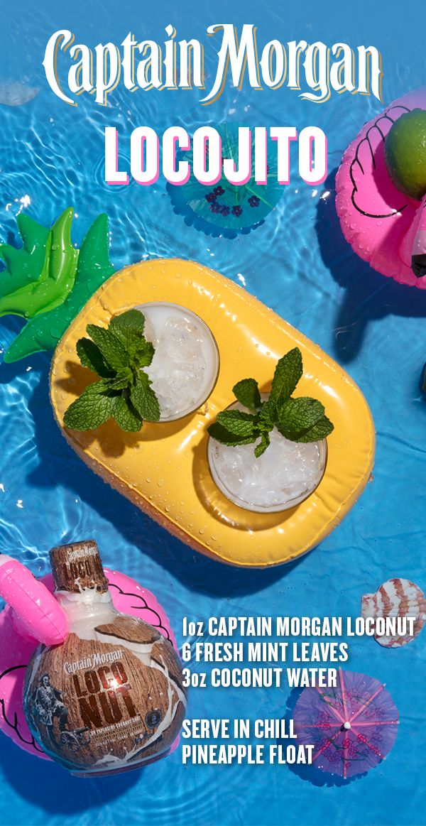 Stay cool by the pool this season with a fresh cocktail made with the outrageously delicious flavor of new Captain Morgan LocoNut. To fix yourself a Locojito, muddle 6 fresh mint leaves in the bottom of a glass. Add 3 oz coconut water, 1 oz Captain Morgan LocoNut, and stir to combine. Add ice, garnish with a sprig of mint, and kick back like a Captain. Sorry spring, but we're ready for summer.