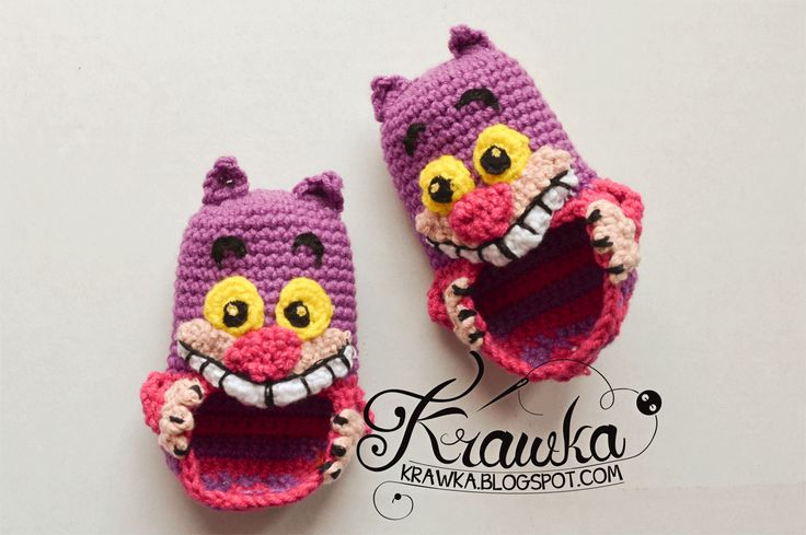 These Cheshire cat booties would be super cute in our Vanna's Palettes yarn.  Check out the Crochet pattner by Krawka.