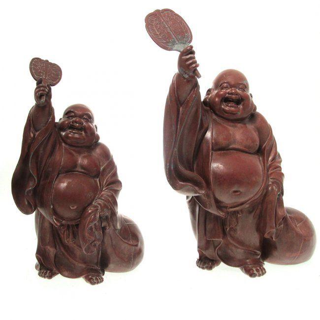 Graduated Pair of Buddha Sculptures. : Lot 38