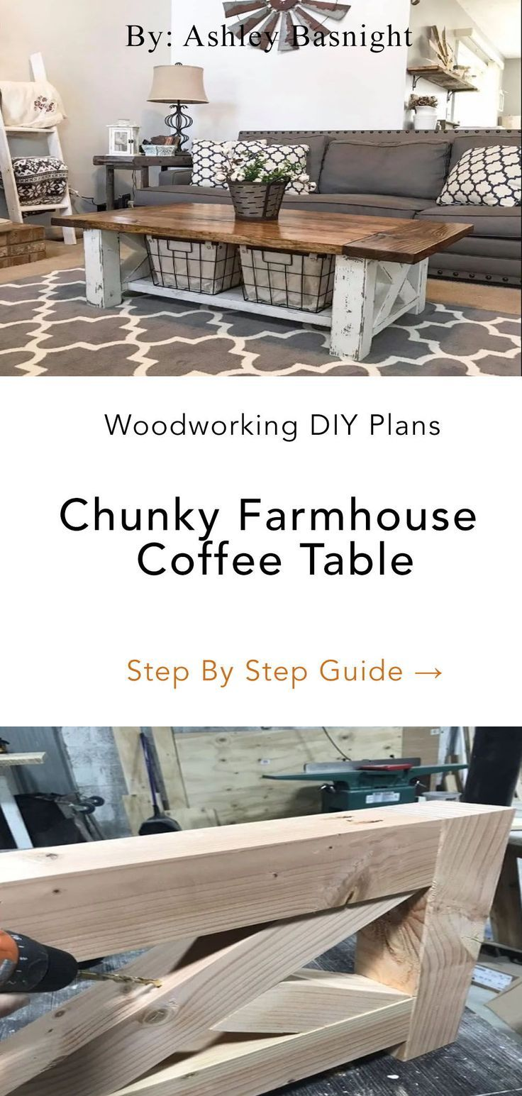 Chunky Farmhouse Coffee Table In 2020 Coffee Table Farmhouse Diy Coffee Table Coffee Table Plans