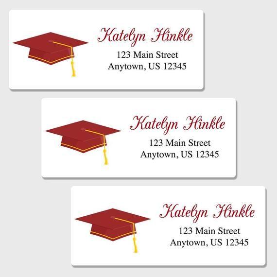 Set Of 30 Personalized Graduation Cap Return Address Labels Etsy Return Address Labels Personalized Return Address Labels Address Labels