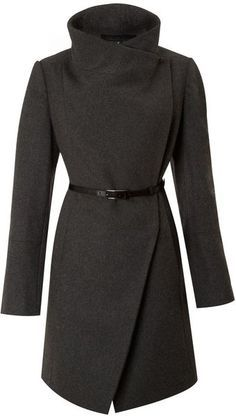 Kenneth Cole Twill Belted Wool Coat
