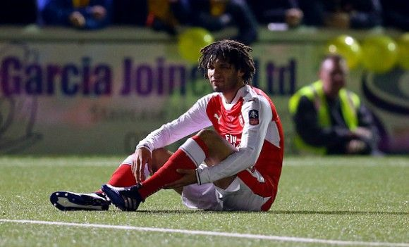 Mohamed Elneny is wearing a protective boot following his injury against Sutton United in the FA Cup.   Elneny, who joined the Gunners la...