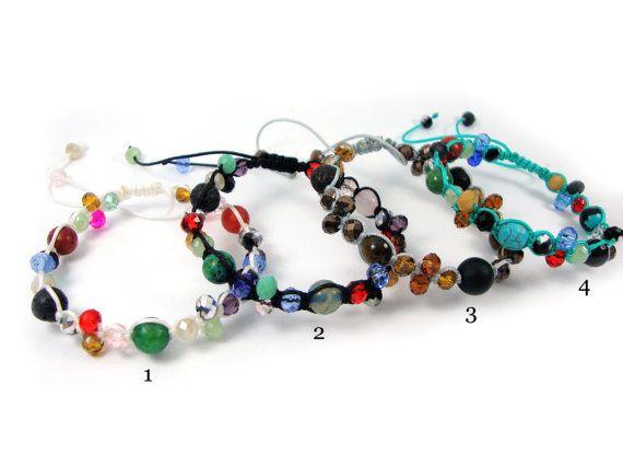 FREE SHIPPING Mixed Natural Stones Handmade Greek Adjustable Bracelet & Crystal Stones, Greek Bracelet , Mineral Steine Griechische Armband on Etsy, 18,00€