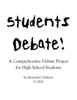 Students Debate! is the result of years of debate coaching and English teaching. The project has taken the thinking, researching, writing, and speaking skills used by Southview High School, a consistent qualifier to the National Forensic League U.S. Debate Tournament, and brought them to the high school classroom.